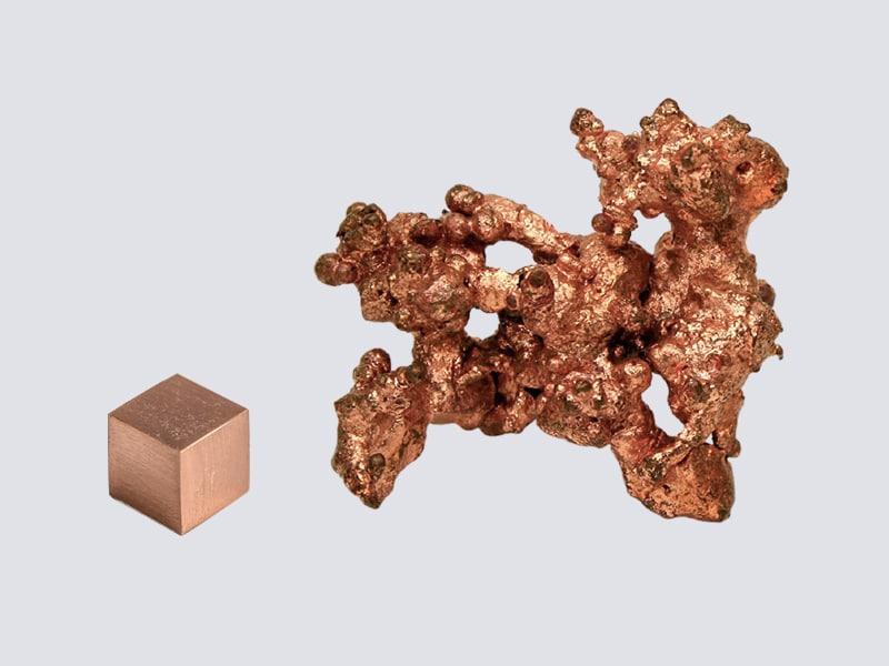 cuivre pur et transformé par concept metal